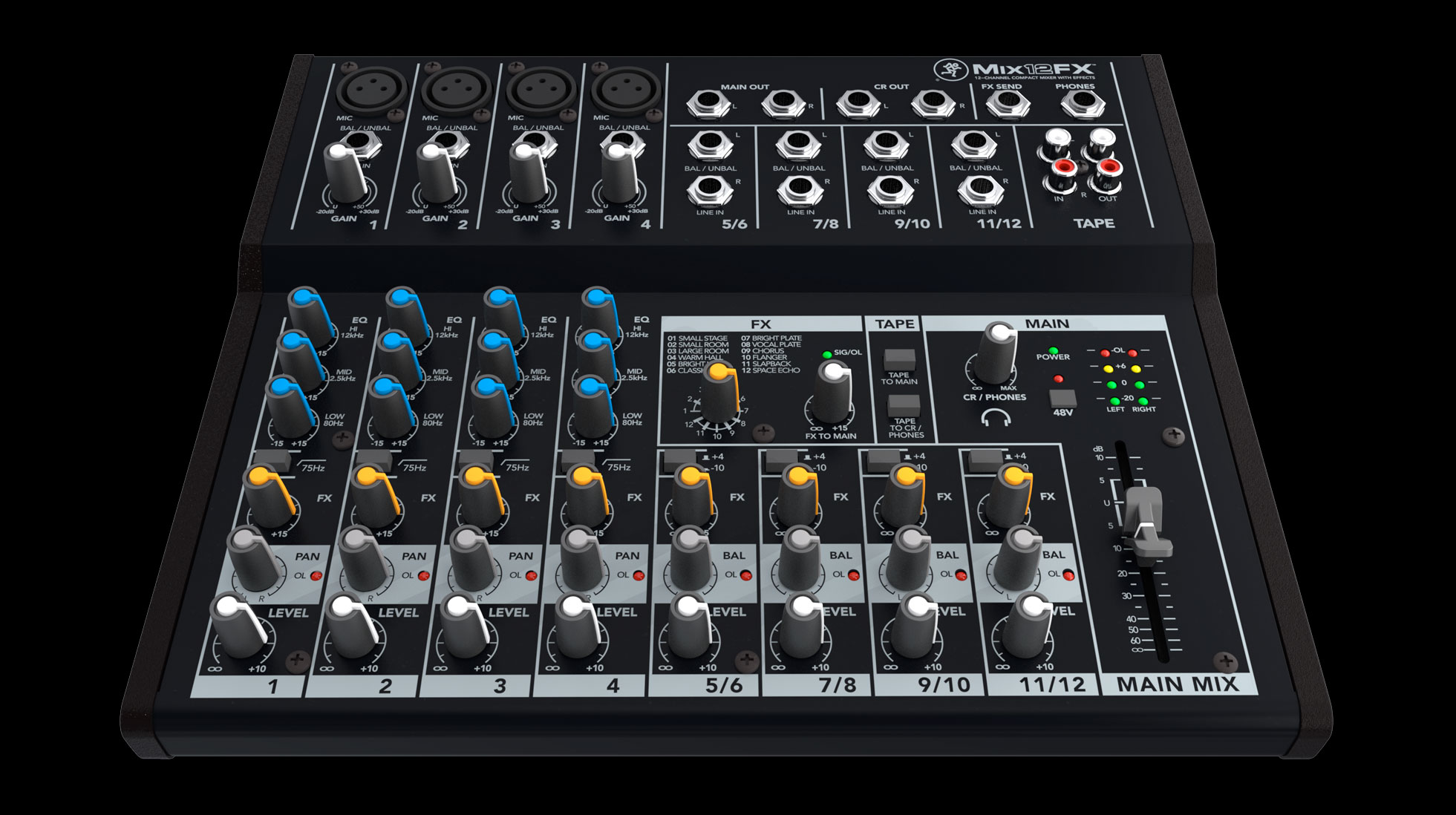 Mackie mix12fx 12-channel compact mixer with effects | guitar center.